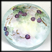 Hand Painted Porcelain Powder Jar of Trinket Box Blackberries, Signed Dori.