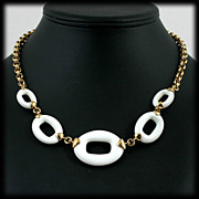 Monet Modernist White Hoop and Gold Chain Necklace