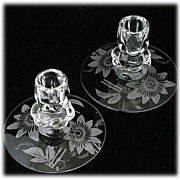 Duncan and Miller Passion Flower Etched Elegant Glass Candle Holders Vintage