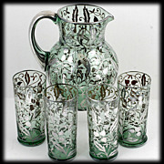 Bohemian Green Glass Pitcher Tumbler Set Vintage Silver Overlay 1930s