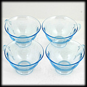 Fostoria Fairfax Blue Tea Cups Set 4 Vintage Elegant Glass 1920s