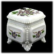 Westmoreland Milk Glass Trinket Box Beaded Bouquet Purple Flowers Original Label