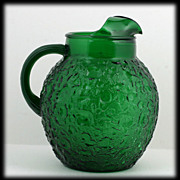 Anchor Hocking Milano Forest Green Ball Pitcher 1960s Vintage Glass