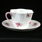 Crown Staffordshire Sweetheart Rose Pink Tea Cup and Saucer Bone China