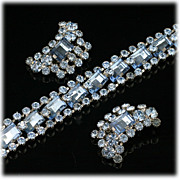 Dazzling Pale Blue Rhinestone Bracelet and Clip Earrings Demi Parure.