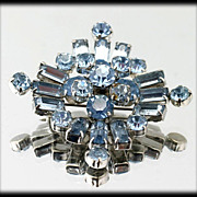 Stunning Pale Blue Rhinestone Brooch Vintage 1930s