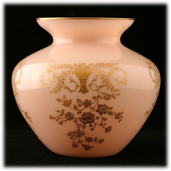 Cambridge Crown Tuscan Portia Vase Etched with Gold Inlay Elegant Glass Pink
