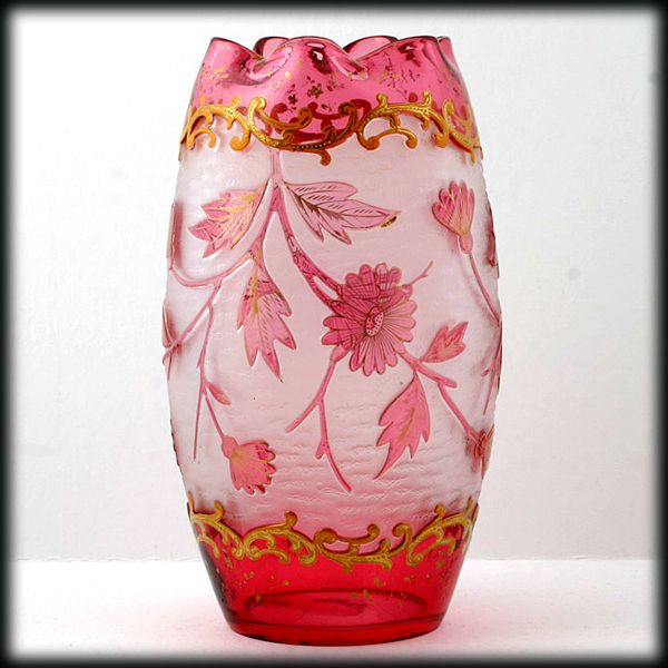 Harrach Jewel Cranberry Acid Cut Back Large Vase Ruby Gold Flowers Antique Art Glass