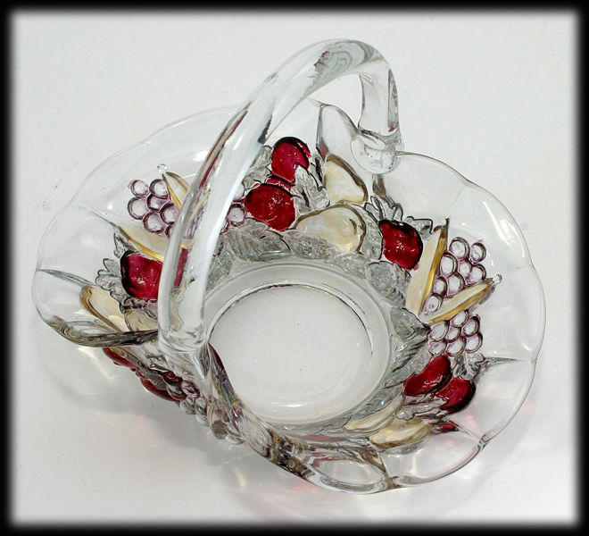Indiana Glass Garland Basket Banana Fruits Stained Vintage 1930s