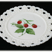 Kemple Strawberries on Milk Glass Lacey Heart Edged Vintage Plate Hand Painted
