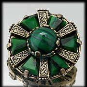 Green Gold Colored Celtic Style Miracle Brooch