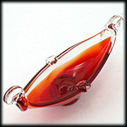 Murano Glass Mid Century Gondola Flame Orange and Crystal Art Glass Boat