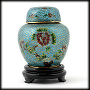 Vintage Plique A Jour Cloisonne Ginger Jar with Stand Flower and Bird motif