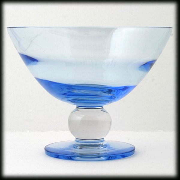 Tiffin Copen Blue Swedish Optic Compote Crystal Ball Stem Elegant Glass Vintage