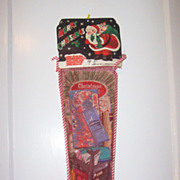 Vintage Mesh Christmas Stocking  Toys Games Filled Unopened