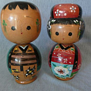 Adorable and Large Vintage Kokeshi Doll Pair