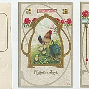 Three Embossed Easter Cards--Chicks and Roosters