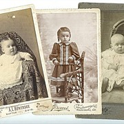 Three Vintage Cabinet Photographs of Babies