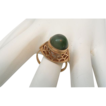 Vintage Soviet 14 CT Rose Gold Domed Jade Ring