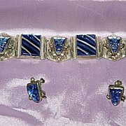 SALE Vintage Sterling & Blue Glass Bracelet and Earrings Mexico