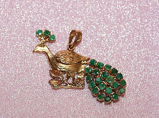 14K YG Peacock Pendant with 24 Green Tourmalines Pin