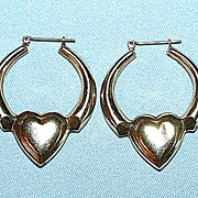 Vintage 14K Yellow Gold Pierced Earrings with a big Heart