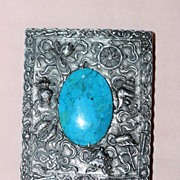 SOLD Chinese Sterling Case with Turquoise by Zee Sung