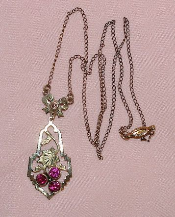 Victorian 10 Karat Necklace and Ruby Pendant