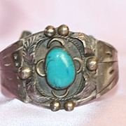 SALE Native American Sterling and Turquoise Large Cuff Bracelet