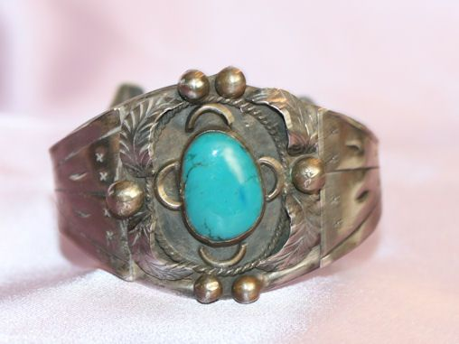 Native American Sterling and Turquoise Large Cuff Bracelet