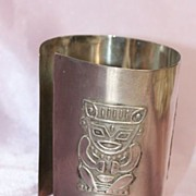 SALE Large Cuff Bracelet in 900 Silver with Squatting Maya Man Image