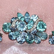 SALE Eisenberg 1950-60's Aqua & Lavender Stone Brooch and Clip Earrings