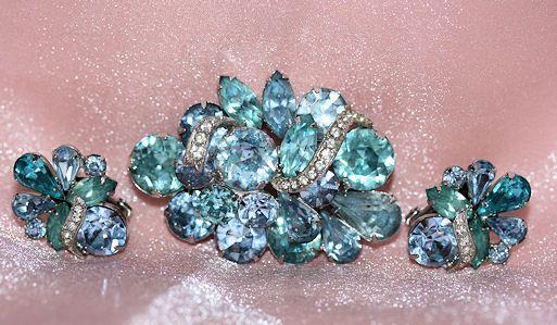 Eisenberg 1950-60's Aqua & Lavender Stone Brooch and Clip Earrings