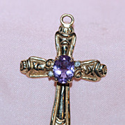 10K Yellow Gold Cross with Amethyst and Diamonds