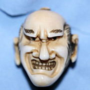 Ivory Netsuke of Angry Mans Face