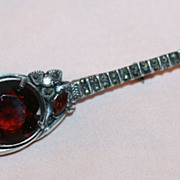 Sterling Banjo Pin with Rhinestones
