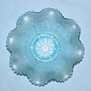Rare Ice Blue Northwood Heart and Flowers Bowl