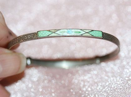 Sterling and Cloisonne Young Girls Bracelet