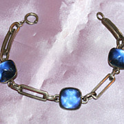 Art Deco Sterling bracelet with blue baubles signed Simmons