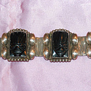 Vintage 1960s Sterling Silver & Onyx Bracelet made in Mexico