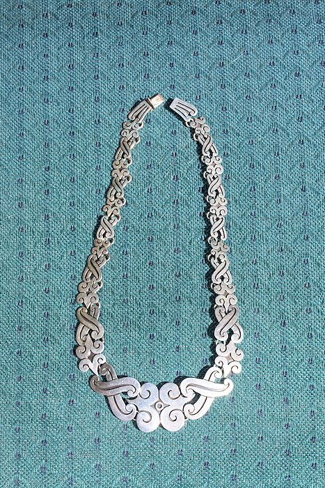 Vintage 1970s Mexican Sterling Silver Necklace marked MB