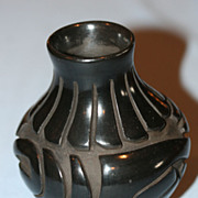 Vintage Carved Black Pot by Denise Chavarria Santa Clara Pueblo