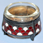 Art Deco Russian Silver Plate & Enamel Salt