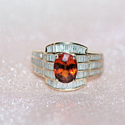 Gorgeous Diamonds and Natural Garnet 14K Y Gold Ring