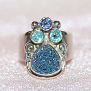 Superb Sterling Ring w/ Drusy Quartz, Amethyst, and blue Topaz