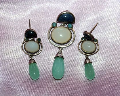 Moonstone and Lapis sterling Pendant & Earrings