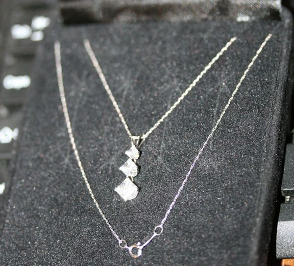 Vintage 1980s Triple CZ Pendant with 14K White Gold Chain