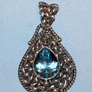 Vintage Teardrop Faceted Pale Blue Topaz Pendant