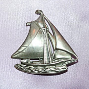 Sterling Sailboat on Waves Dancraft Pin