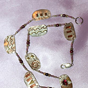 Sterling and Brass with Red Stones Necklace